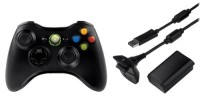Manette sans fil et kit play and charge x360 for Manette xbox 360 pas cher sans fil