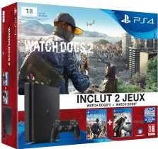 Console Playstation 4 Slim (1 To) Watchdogs 2 en boîte  - Playstation 4