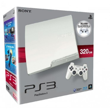 console playstation 3 slim 320 go blanche en bo te. Black Bedroom Furniture Sets. Home Design Ideas