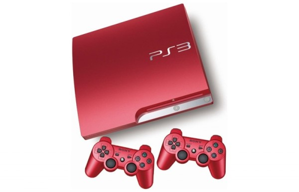 console playstation 3 slim 320 go rouge 2 manettes ps3 console occasion pas cher. Black Bedroom Furniture Sets. Home Design Ideas