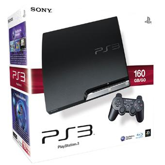 console playstation 3 slim 160 go en bo te ps3. Black Bedroom Furniture Sets. Home Design Ideas