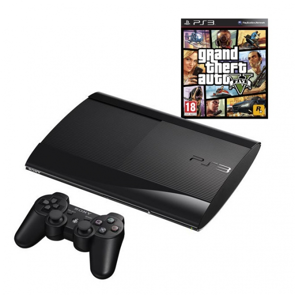 console playstation 3 ultra slim 500 go noire gta v ps3 console occasion pas cher. Black Bedroom Furniture Sets. Home Design Ideas