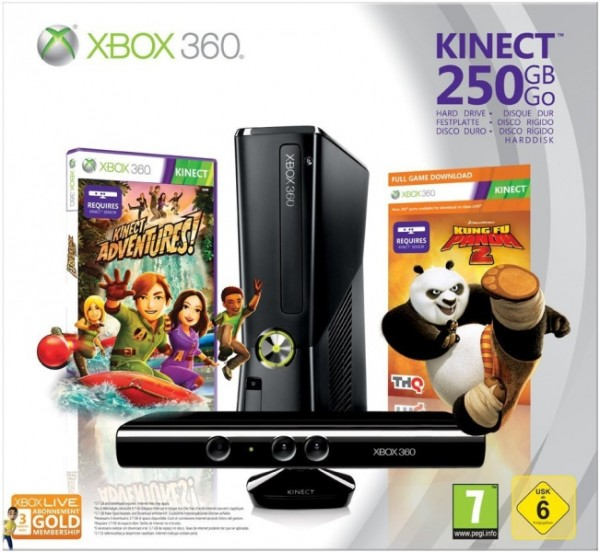 console xbox 360 slim 250 go capteur kinect kinect. Black Bedroom Furniture Sets. Home Design Ideas