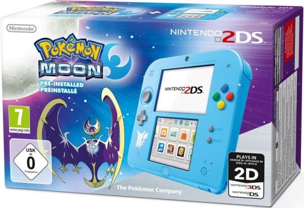 console nintendo 2ds bleue edition pokemon lune avec. Black Bedroom Furniture Sets. Home Design Ideas