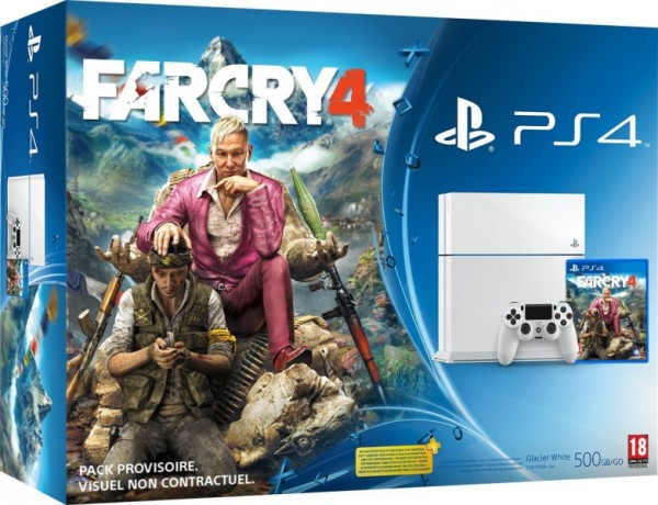 console playstation 4 500 go blanche far cry 4 ps4 console occasion pas cher gamecash. Black Bedroom Furniture Sets. Home Design Ideas
